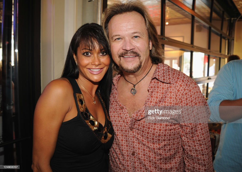Theresa Nelson and Singer/Songwriter/Husband Travis Tritt celebrate at his George Jones' 80th birthday party at Rippy's Bar Grill on September 13...