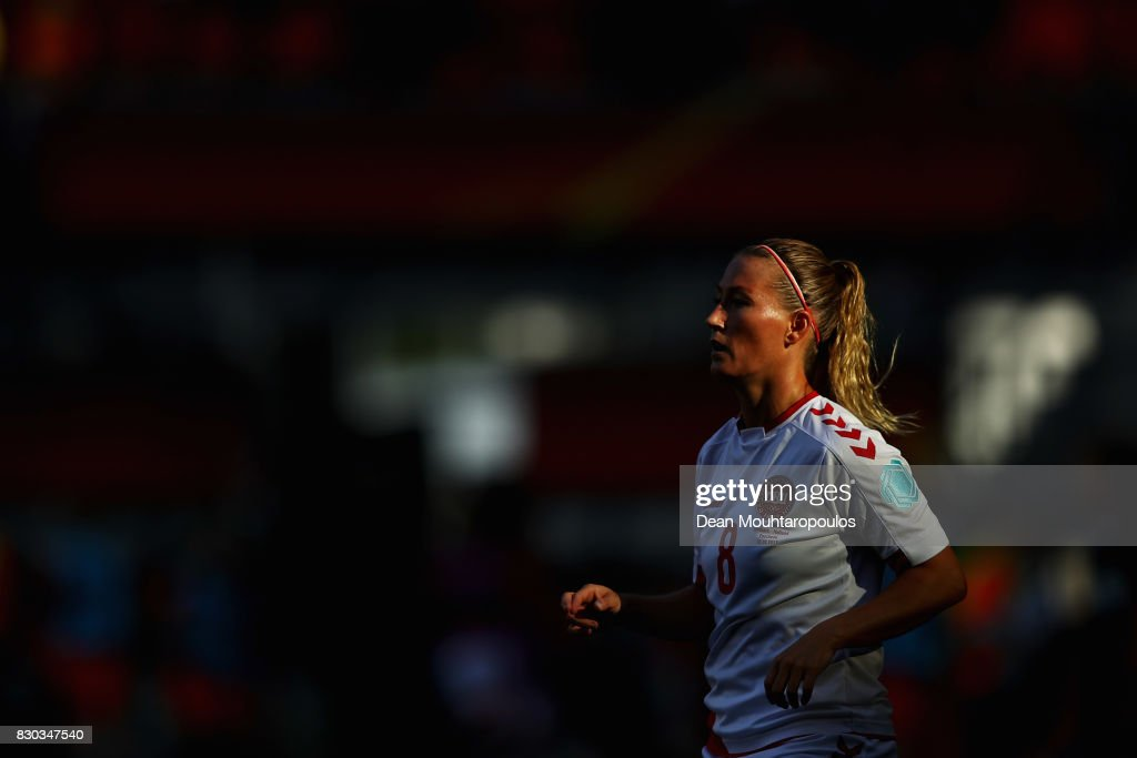 Theresa Nielsen of Denmark looks on during the Final of the UEFA Women's Euro 2017 between Netherlands and Denmark at FC Twente Stadium on August 6, 2017 in Enschede, Netherlands.