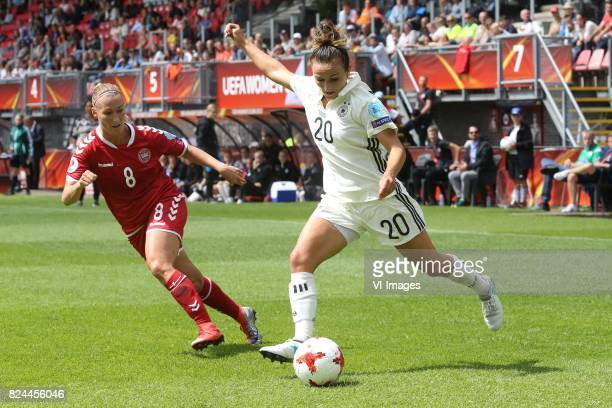 Theresa Nielsen of Denmark women Lina Magull of Germany women during the UEFA WEURO 2017 quarter finale match between Germany and Denmark at the...