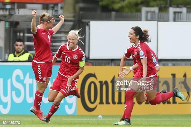 Theresa Nielsen of Denmark women Pernille Harder of Denmark womenNadia Nadim of Denmark women during the UEFA WEURO 2017 quarter finale match between...
