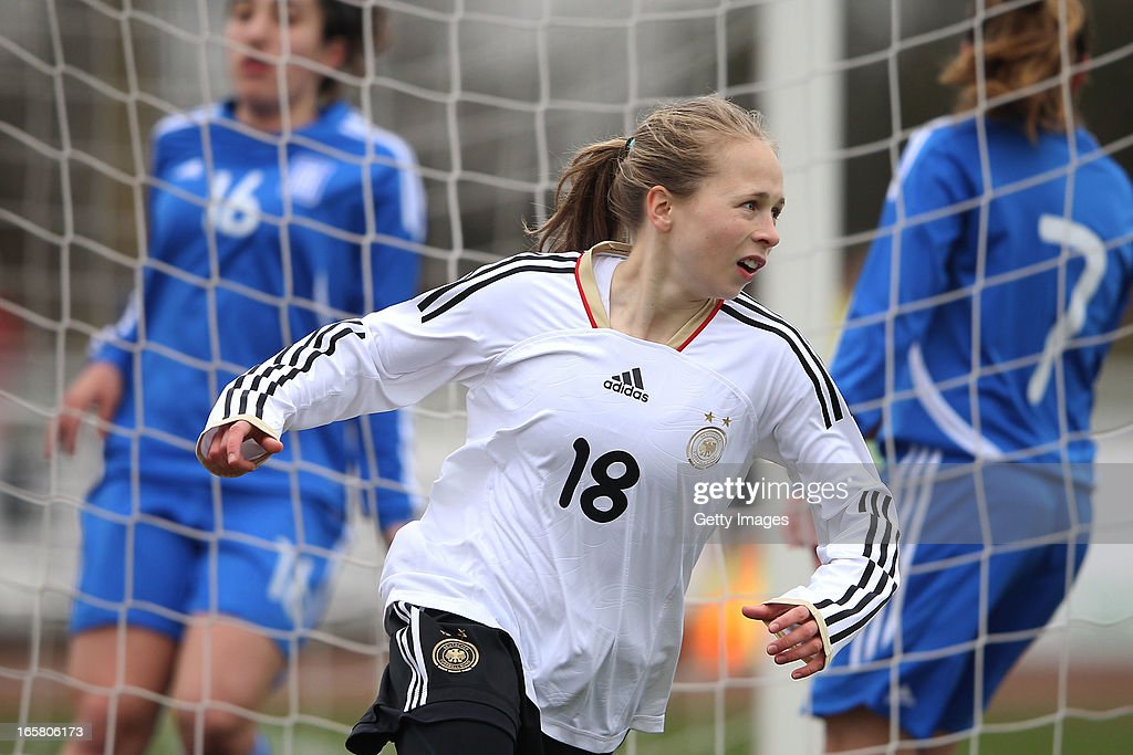 Theresa Panfil of Germany celebrates after scoring their second goal during the Women's UEFA U19 Euro Qualification match between U19 Germany and U19 Greece at Sportzentrum Sued on April 6, 2013 in Kirchheim, Germany.