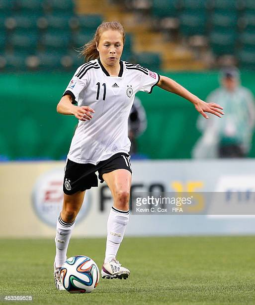 Theresa Panfil of Germany controls the ball against China PR at Commonwealth Stadium on August 8 2014 in Edmonton Canada