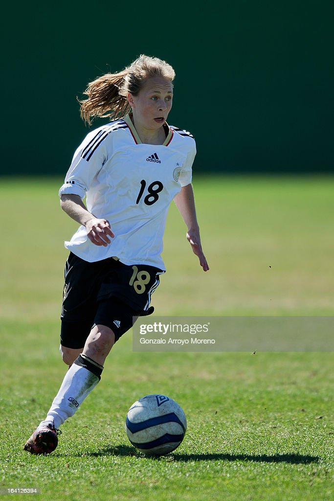 Theresa Panfil of U19 Germany controls the ball during the Women's U19 Tournament match between U19 Norway and U19 Germany at La Manga Club ground G on March 11, 2013 in La Manga, Spain.