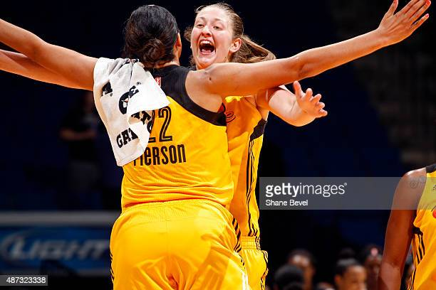 Theresa Plaisance and Plenette Pierson of the Tulsa Shock celebrate after the game against the San Antonio Stars on September 8 2015 at the BOK...