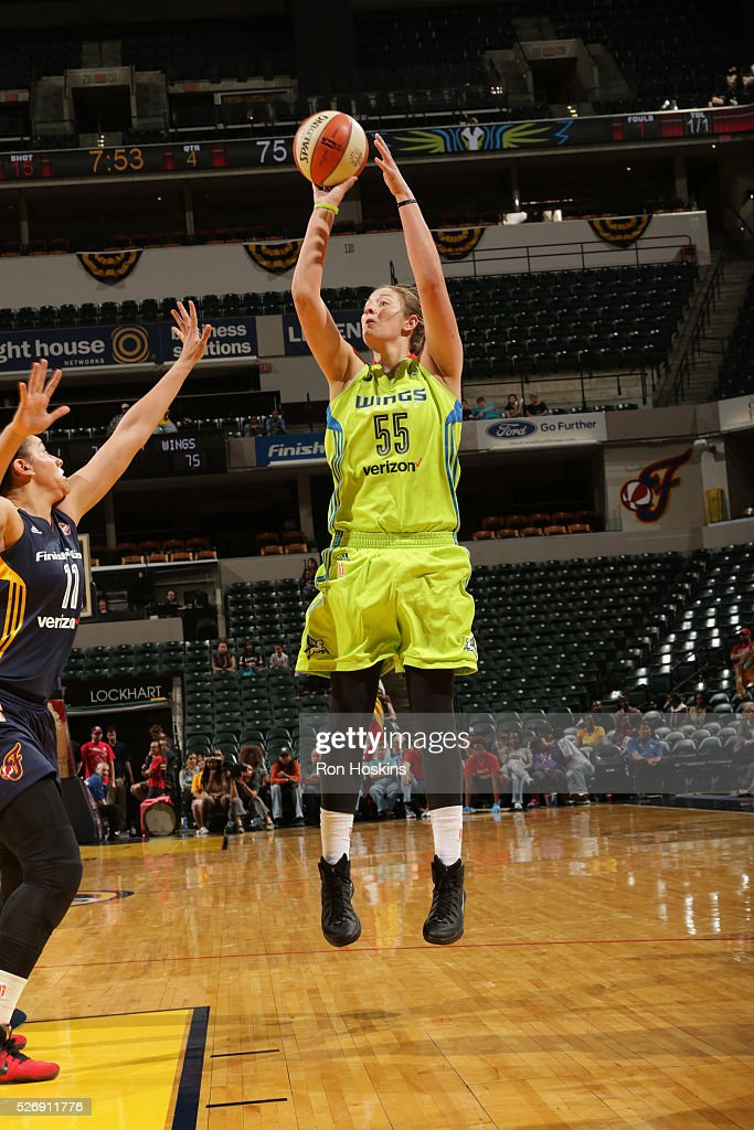 Theresa Plaisance #55 of Dallas Wings shoots the ball against the Indiana Fever during a preseason game on May 1, 2016 at Bankers Life Fieldhouse in Indianapolis, Indiana.