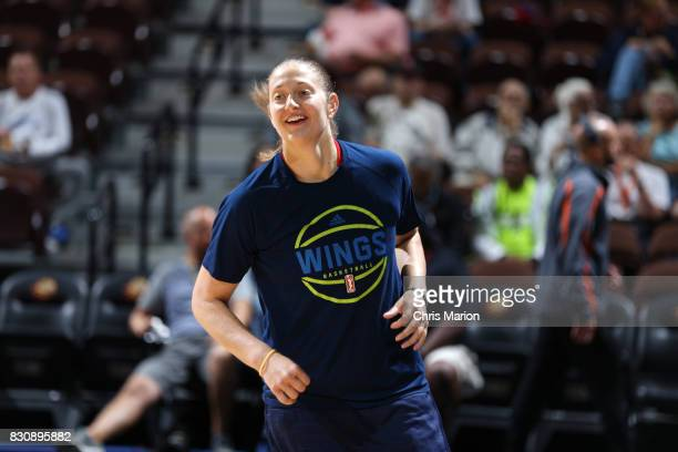 Theresa Plaisance of the Dallas Wings gets introduced before the game against the Connecticut Sun on August 12 2017 at Mohegan Sun Arena in...
