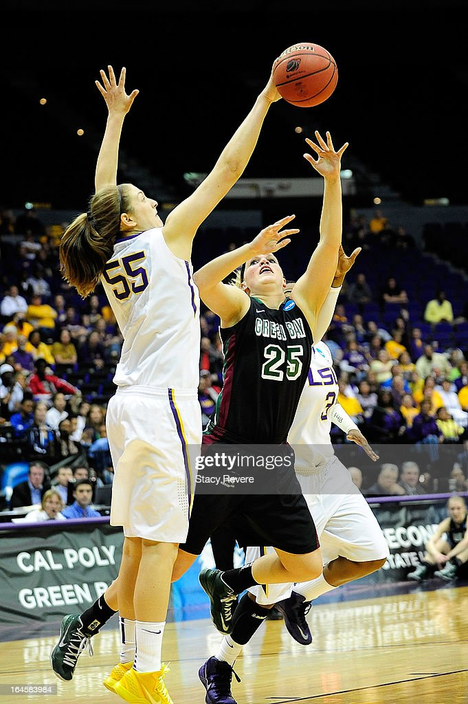Theresa Plaisance #55 of the LSU Tigers blocks a shot by Jenny Gilbertson #25 of the Green Bay Phoenix during the first round of the NCAA Tournament at the Pete Maravich Assembly Center on March 24, 2013 in Baton Rouge, Louisiana. LSU won the game 75-71.