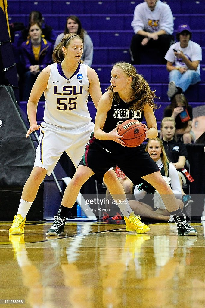 Theresa Plaisance #55 of the LSU Tigers defends Lydia Bauer #22 of the Green Bay Phoenix during the first round of the NCAA Tournament at the Pete Maravich Assembly Center on March 24, 2013 in Baton Rouge, Louisiana. LSU won the game 75-71.