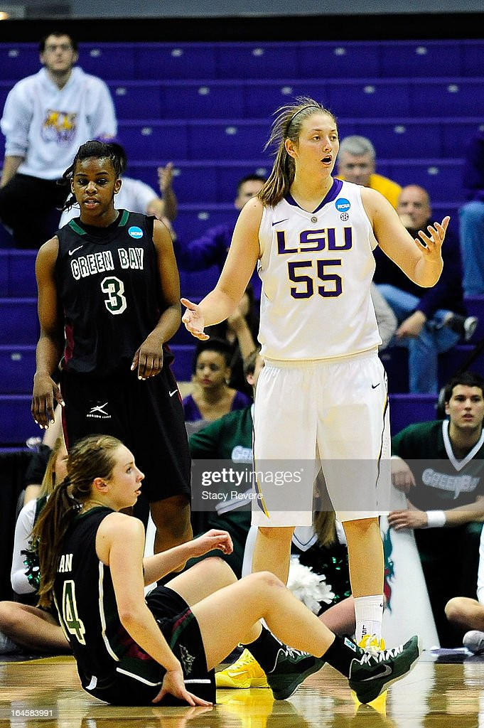 Theresa Plaisance #55 of the LSU Tigers fouls Megan Lukan #14 of the Green Bay Phoenix during the first round of the NCAA Tournament at the Pete Maravich Assembly Center on March 24, 2013 in Baton Rouge, Louisiana. LSU won the game 75-71.