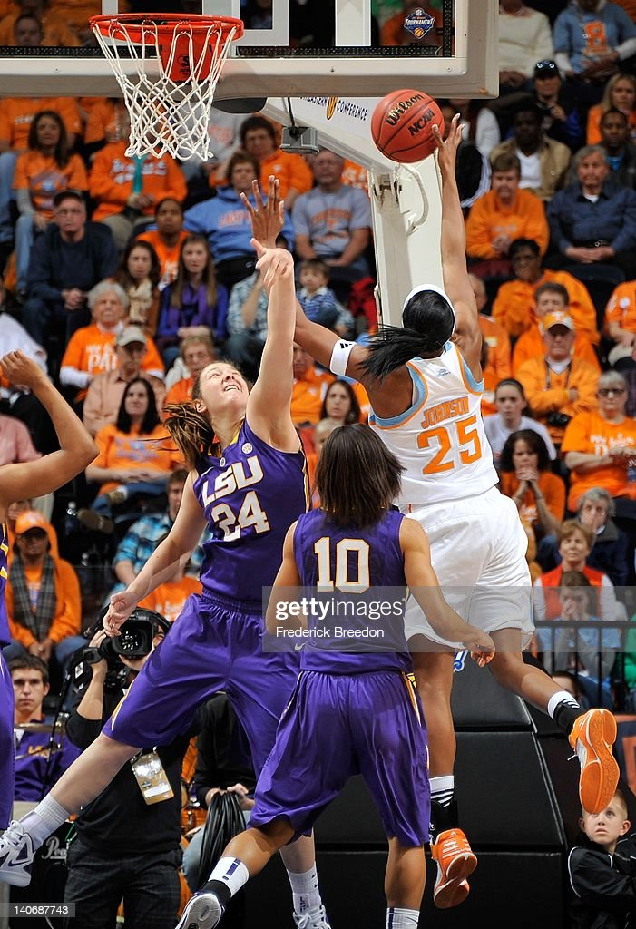 Theresa Plaisance #24 of the LSU Tigers tries to block a shot by Glory Johnson #25 of the Tennessee Volunteers during the SEC Women's Basketball Tournament Championship game at the Bridgestone Arena on March 4, 2012 in Nashville, Tennessee.