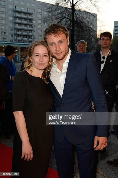 Theresa Scholze and Max Riemelt attend the Achtung Berlin New Berlin Film Award Festival Opening at Kino International on April 15 2015 in Berlin...