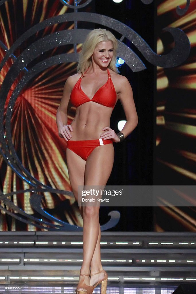 Theresa Vail, Miss Kansas in swimsuit attends 2014 Miss America News Competition - Preliminary Round 1 at Atlantic City Boardwalk Hall on September 11, 2013 in Atlantic City, New Jersey.