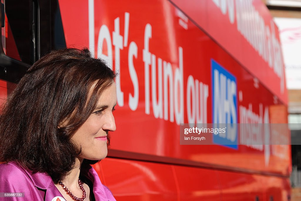 Theresa Villiers MP stands next to the battle bus as she waits for the arrival of Boris Johnson MP during a visit to Chester-Le-Street Cricket Club as part of the Brexit tour on May 30, 2016 in Chester-Le-Street, England. Boris Johnson and the Vote Leave campaign are touring the UK in their Brexit Battle Bus on a campaign hoping to persuade voters to back leaving the European Union in the June 23rd referendum.
