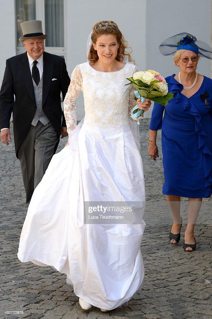 Theresa von Einsiedel attend the wedding of Prince Francois von Orleans And Theresa von Einsiedel on July 26, 2014 in Straubing, Germany.