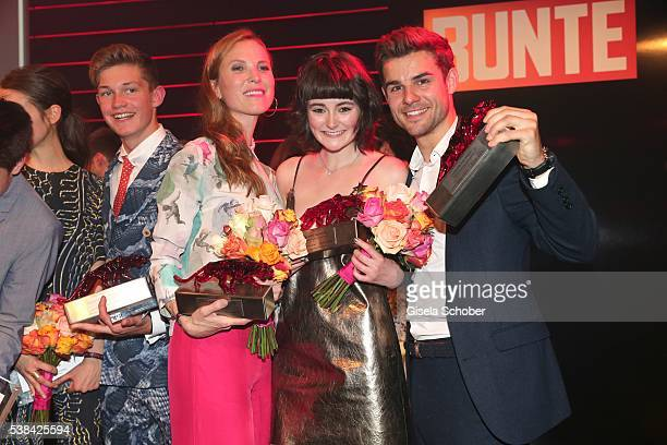 Theresa von Eltz and Lea van Acken and Lucas Reiber with award during the New Faces Award Film 2016 at ewerk on May 26 2016 in Berlin Germany
