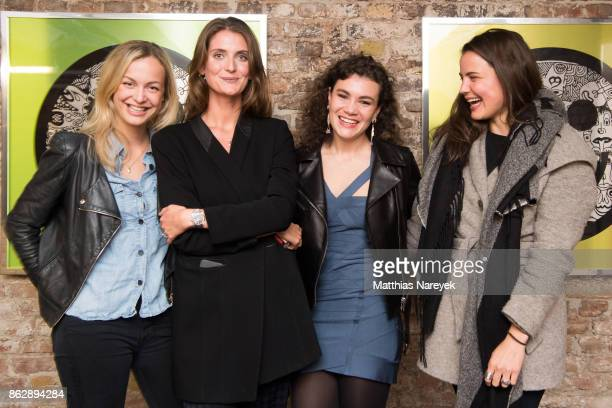 Theresa von Odelzhausen Isabel von Staudt and guest during Romulo's 'Farbenspiel' exhibition opening at Hotel Provocateur on October 18 2017 in...