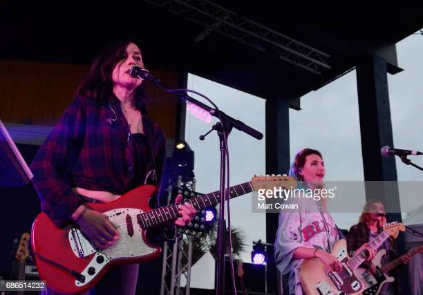Theresa Wayman and Emily Kokal of Warpaint perform at the Mermaid Stage during 2017 Hangout Music Festival on May 21 2017 in Gulf Shores Alabama