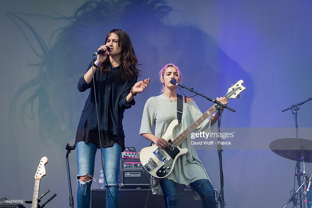 Theresa Wayman and Jenny Lee Lindberg from Warpaint perform at Rock en Seine Festival at Domaine national de Saint Cloud on August 24 2014 in...