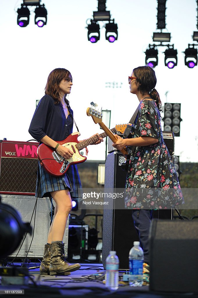 Theresa Wayman and Jenny Lee Lindberg of Warpaint perform at FYF Fest 2012 day 1 at Los Angeles State Historic Park on September 1 2012 in Los...