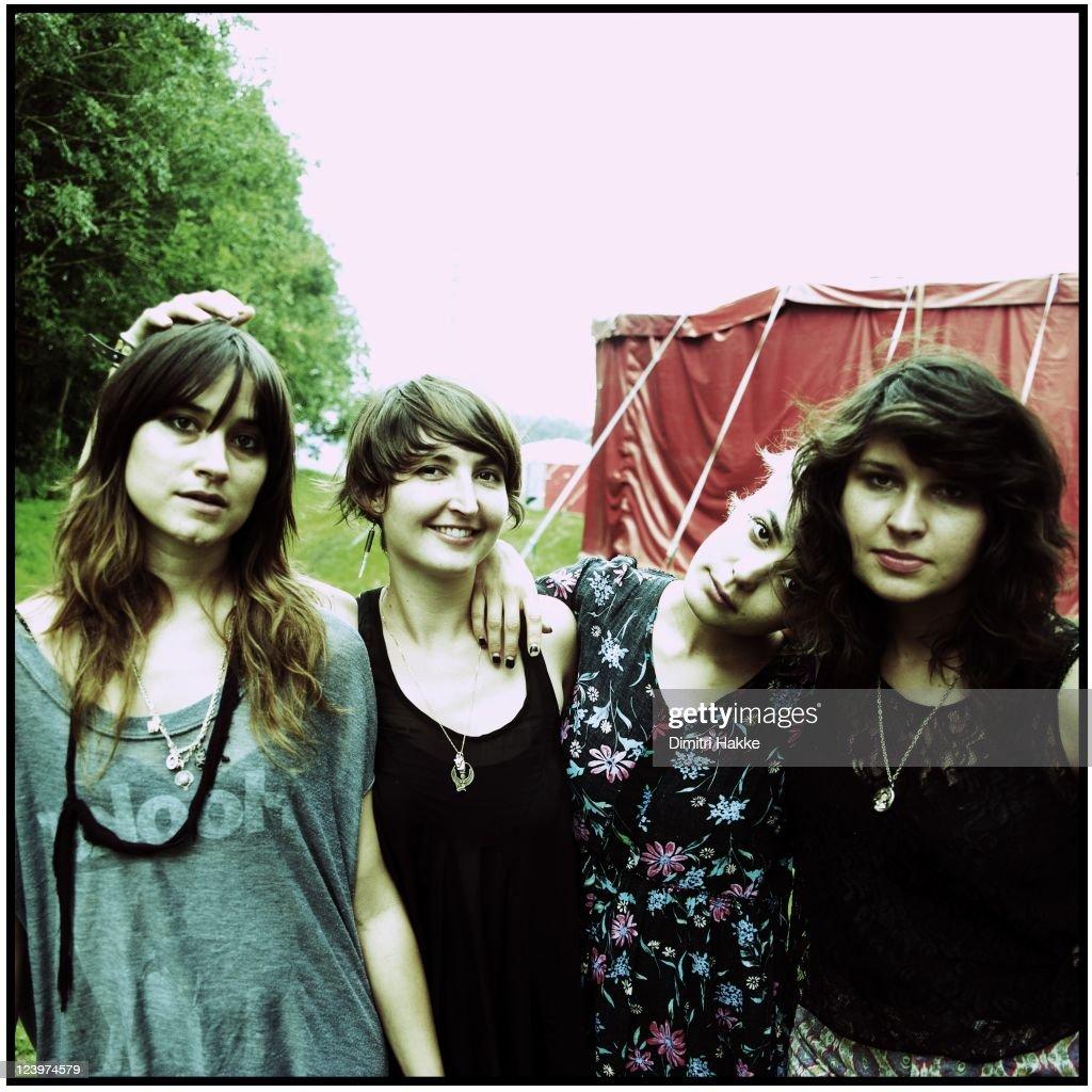 Theresa Wayman, Emily Kokal, Jenny Lee Lindberg and Stella Mozgawa of Warpaint pose backstage at Lowlands Festival on August 21, 2011 in Biddinghuizen, Netherlands.