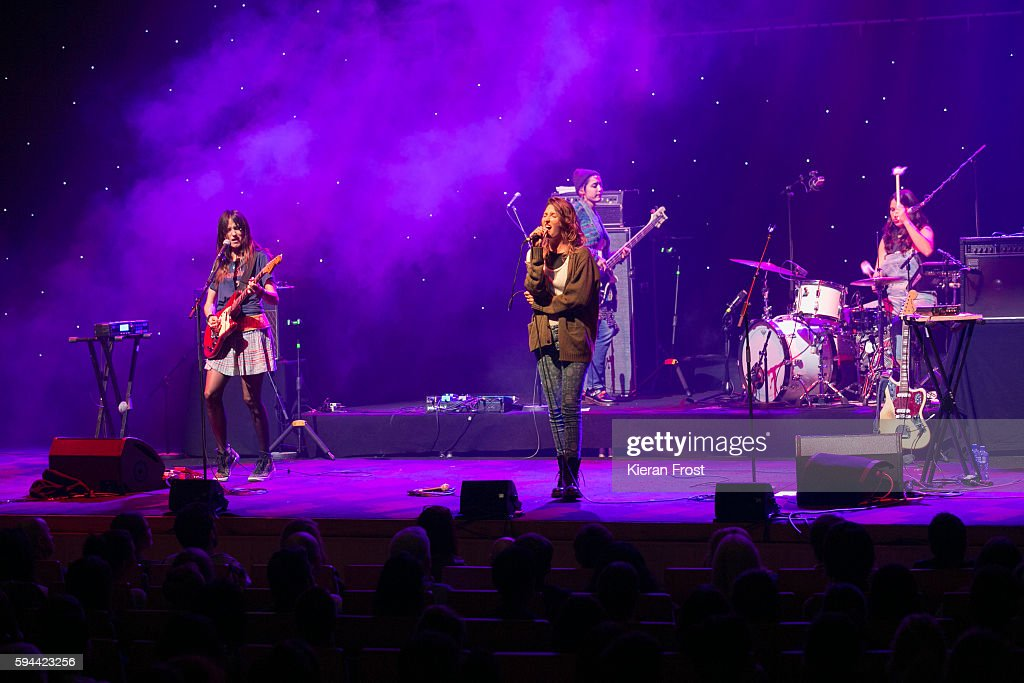 Theresa Wayman Emily Kokal Jenny Lee Lindberg and Stella Mozgawaof Warpaint performs at the National Concert Hall on August 23 2016 in Dublin Ireland