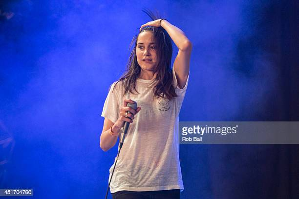 Theresa Wayman from Warpaint performs at the Roskilde Festival 2014 on July 4 2014 in Roskilde Denmark