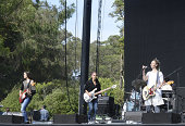 Theresa Wayman Jenny Lee Lindberg and Emily Kokal of Warpaint perform during the Outside Lands Music and Arts Festival at Golden Gate Park on August...