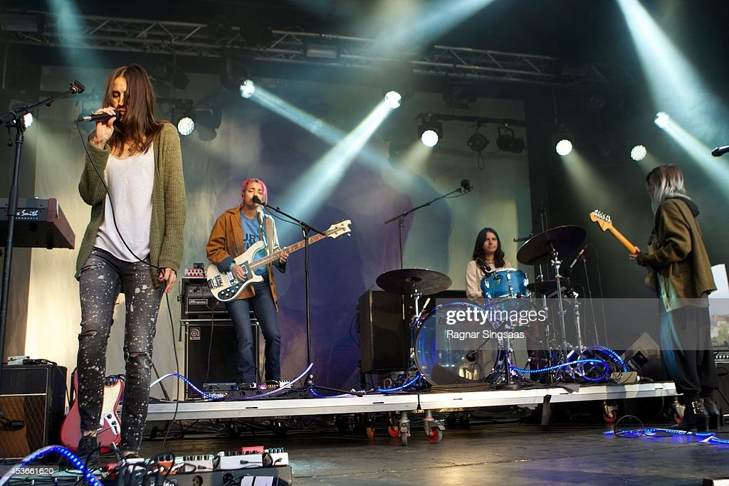 Theresa Wayman Jenny Lee Lindberg Stella Mozgawa and Emily Kokal of Warpaint perform on Day 1 of Pstereo Festival on August 15 2014 in Trondheim...