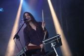 Theresa Wayman of Warpaint performs at day 2 of the Forbidden Fruit festival at Royal Hospital Kilmainham on June 1 2014 in Dublin Ireland