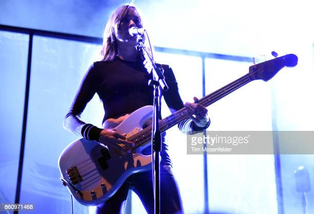 Theresa Wayman of Warpaint performs during the 'Global Spirit Tour' at ORACLE Arena on October 10 2017 in Oakland California