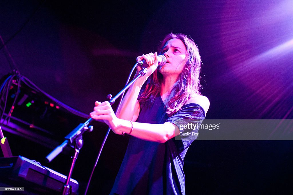 Theresa Wayman of Warpaint performs on stage at Music Hall of Williamsburg on October 1, 2013 in New York, New York.