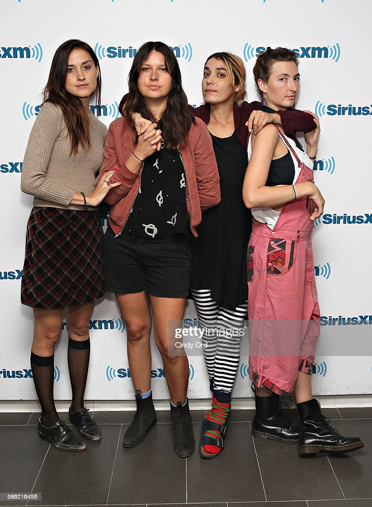 Theresa Wayman Stella Mozgawa Jenny Lee Lindberg and Emily Kokal of Warpaint visit the SiriusXM Studios on August 5 2016 in New York City