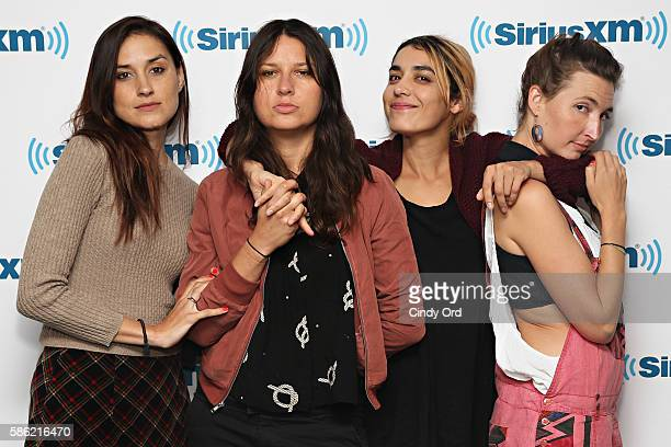Theresa Wayman Stella Mozgawa Jenny Lee Lindberg and Emily Kokal of Warpaint visit the SiriusXM Studios on August 5 2016 in New York City