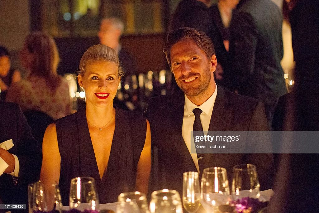 Therese Andersson and Henrik Lundqvist attend the dinner to celebrate Italo Zucchelli's ten years as Calvin Klein Collection's mens creative director on June 23, 2013 in Milan, Italy.