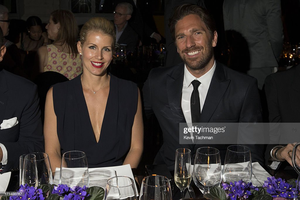 Therese Andersson, left, and Henrik Lundqvist attend the dinner to celebrate Italo Zucchelli's ten years as Calvin Klein Collection's mens creative director on June 23, 2013 in Milan, Italy.