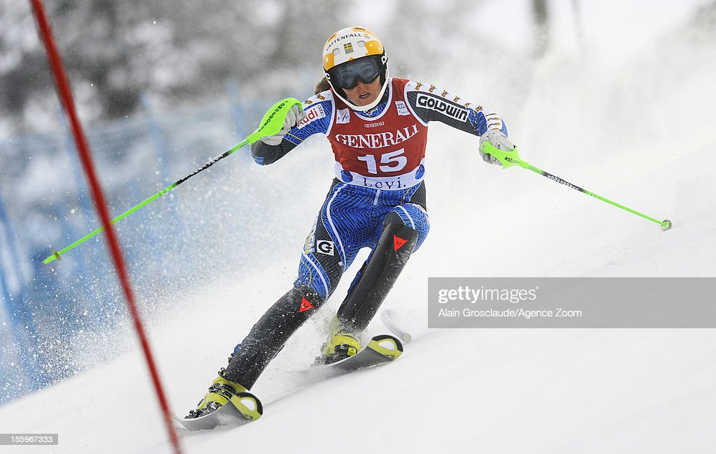 Therese Borssen of Sweden competes during the Audi FIS Alpine Ski World Cup Women's Slalom on November 10, 2012 in Levi, Finland.