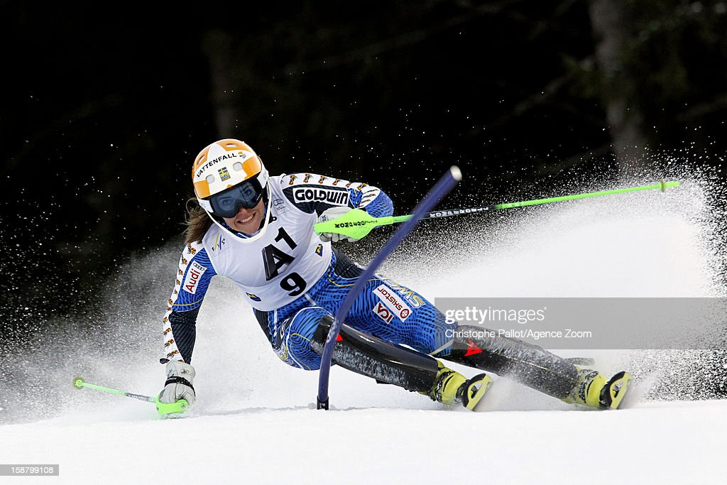 <a gi-track='captionPersonalityLinkClicked' href=/galleries/search?phrase=Therese+Borssen&family=editorial&specificpeople=834413 ng-click='$event.stopPropagation()'>Therese Borssen</a> of Sweden competes during the Audi FIS Alpine Ski World Cup Women's Slalom on December 29, 2012 in Semmering, Austria.