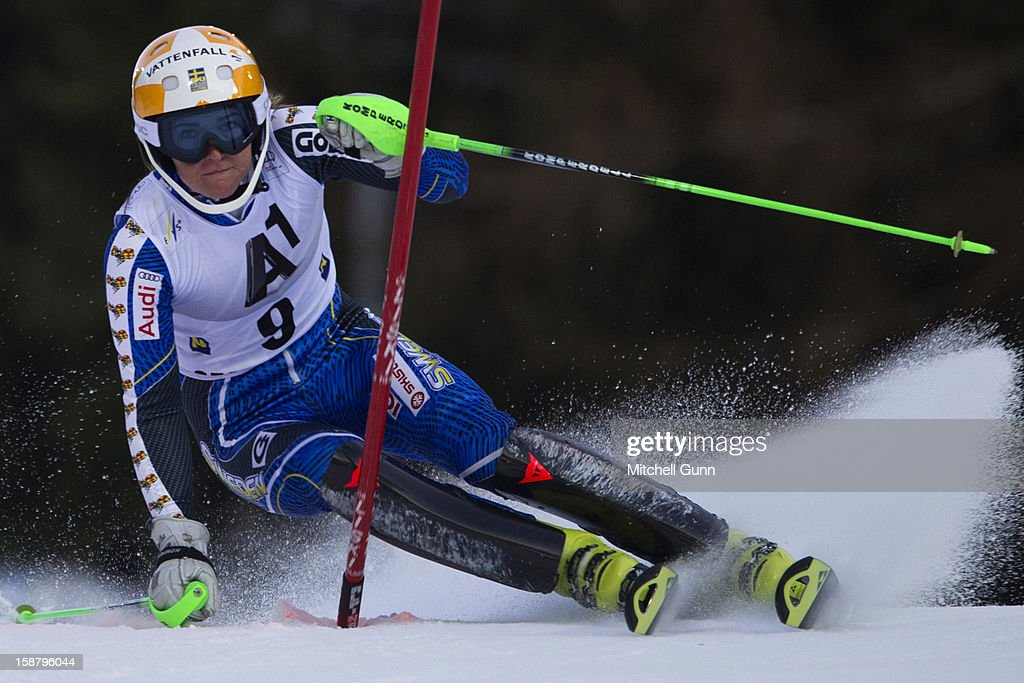 Therese Borssen of Sweden races down the course whilst competing in the Audi FIS Alpine Ski World Cup Slalom Race on December 29, 2012 in Semmering, Austria.