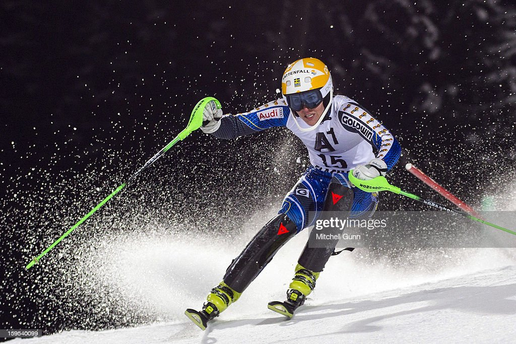Therese Borssen of Sweden races down the course whilst competing in the Audi FIS Alpine Ski World Cup Slalom race on January 15, 2013 in Flachau, Austria.
