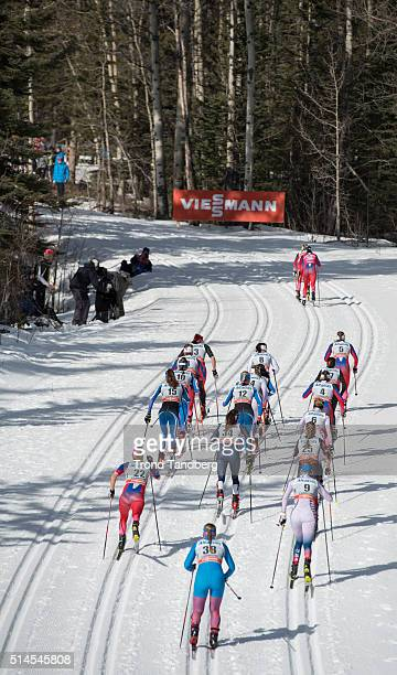 Therese Johaug Heidi Weng during Cross Country Ladies Skiathlon 75 km Classic 75 km Free on March 09 2016 in Canmore Alberta Canada