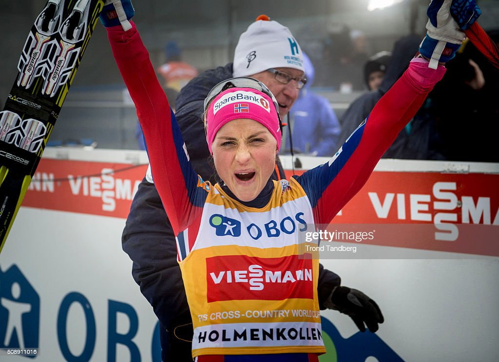 Therese Johaug of Norway celebrate victory during the Cross Country Ladies 30km Mass Start Classic on February 07, 2016 in Oslo, Norway.