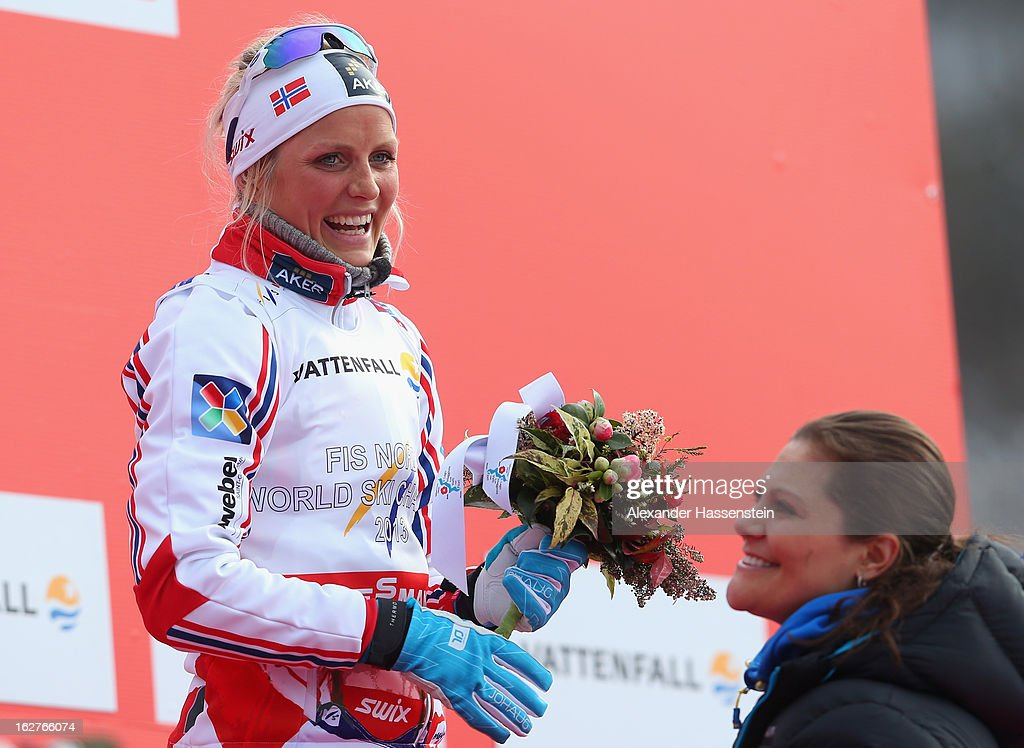 Therese Johaug of Norway is congratulated by Victoria, Crown Princess of Sweden following the Women's Cross Country Individual 10km at the FIS Nordic World Ski Championships on February 26, 2013 in Val di Fiemme, Italy.