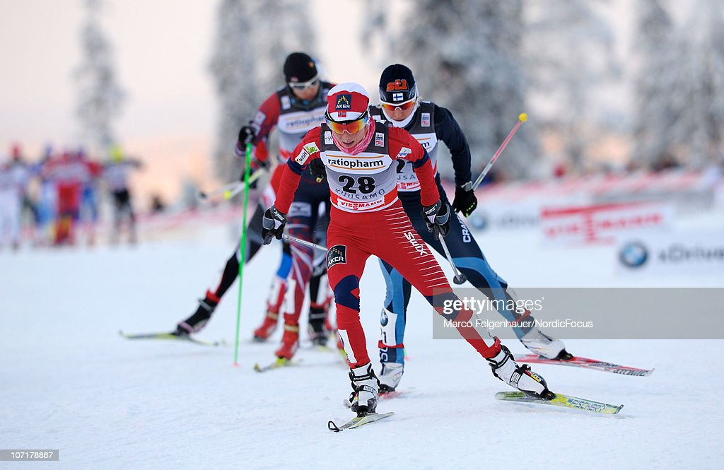 Therese Johaug of Norway leads in the women 10km free handicap start during the FIS World Cup Cross Country Skiing on November 28, 2010, in Kuusamo, Finland.