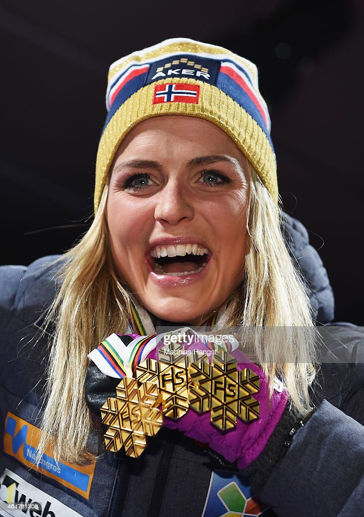 <a gi-track='captionPersonalityLinkClicked' href=/galleries/search?phrase=Therese+Johaug&family=editorial&specificpeople=4176080 ng-click='$event.stopPropagation()'>Therese Johaug</a> of Norway poses with her three gold medals during the medal ceremony for the Women's 30km Mass Start Cross-Country during the FIS Nordic World Ski Championships at the Lugnet venue on February 28, 2015 in Falun, Sweden.