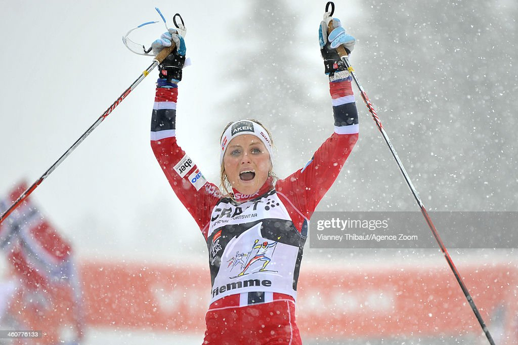 Therese Johaug of Norway takes 1st place during the FIS Cross-Country World Cup Tour de Ski Women's Final Climb on January 05, 2014 in Val di Fiemme, Italy.