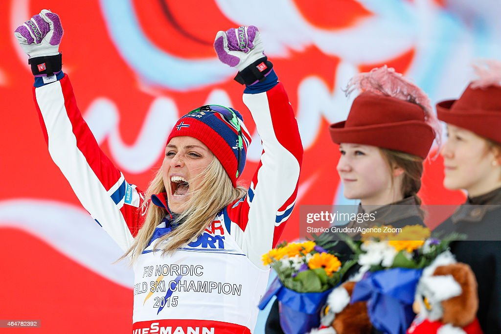 <a gi-track='captionPersonalityLinkClicked' href=/galleries/search?phrase=Therese+Johaug&family=editorial&specificpeople=4176080 ng-click='$event.stopPropagation()'>Therese Johaug</a> of Norway takes 1st place during the FIS Nordic World Ski Championships Women's Cross-Country Mass Start on February 28, 2015 in Falun, Sweden.