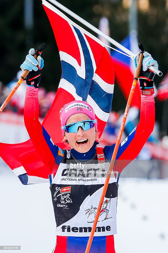 Therese Johaug of Norway takes 1st place during the FIS Nordic World Cup Men's and Women's Cross Country Tour de Ski on January 10, 2016 in Val di Fiemme, Italy.