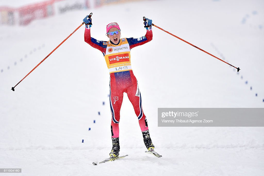 Therese Johaug of Norway takes 1st place during the FIS Nordic World Cup Men's and Women's Cross Country Skiathlon on February 21, 2016 in Lahti, Finland.