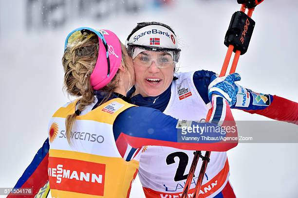 Therese Johaug of Norway takes 1st place Heidi Weng of Norway takes 2nd place during the FIS Nordic World Cup Men's and Women's Cross Country...