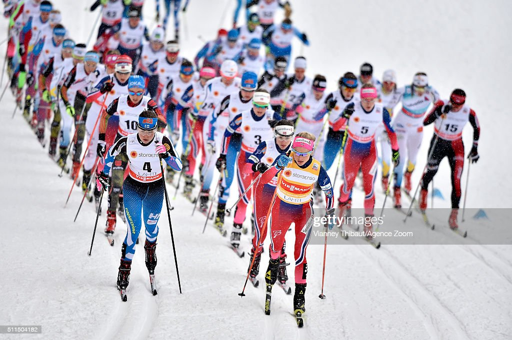 <a gi-track='captionPersonalityLinkClicked' href=/galleries/search?phrase=Therese+Johaug&family=editorial&specificpeople=4176080 ng-click='$event.stopPropagation()'>Therese Johaug</a> of Norway takes 1st place, <a gi-track='captionPersonalityLinkClicked' href=/galleries/search?phrase=Heidi+Weng&family=editorial&specificpeople=8660218 ng-click='$event.stopPropagation()'>Heidi Weng</a> of Norway takes 2nd place, <a gi-track='captionPersonalityLinkClicked' href=/galleries/search?phrase=Ingvild+Flugstad+Oestberg&family=editorial&specificpeople=7427144 ng-click='$event.stopPropagation()'>Ingvild Flugstad Oestberg</a> of Norway takes 3rd place during the FIS Nordic World Cup Men's and Women's Cross Country Skiathlon on February 21, 2016 in Lahti, Finland.